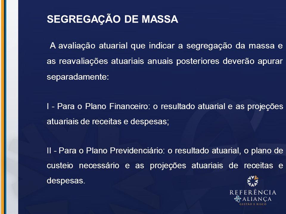 SEGREGAÇÃO DE MASSA A avaliação atuarial que indicar a segregação da massa e as reavaliações atuariais anuais posteriores deverão apurar separadamente