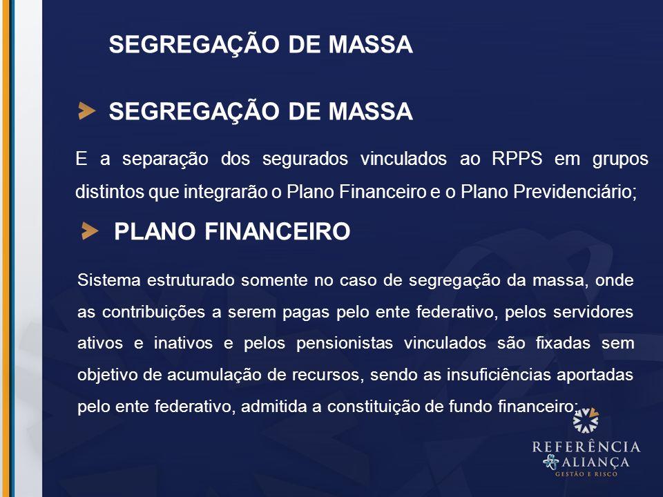 E a separação dos segurados vinculados ao RPPS em grupos distintos que integrarão o Plano Financeiro e o Plano Previdenciário; SEGREGAÇÃO DE MASSA PLA