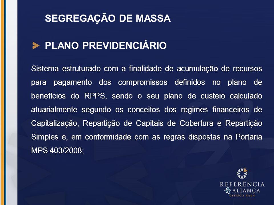 SEGREGAÇÃO DE MASSA Segregação de Massa: a separação dos segurados vinculados ao RPPS em grupos distintos que integrarão o Plano Financeiro e o Plano Previdenciário.