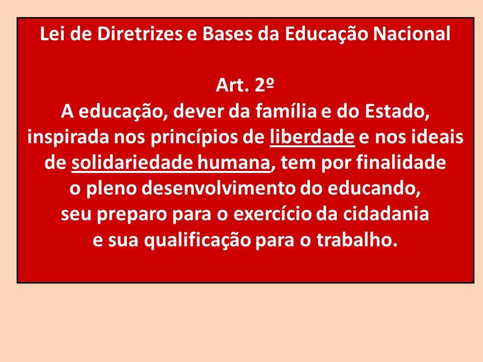 Lei de Diretrizes e Bases da Educação Nacional Art. 2º A educação, dever da família e do Estado, inspirada nos princípios de liberdade e nos ideais de