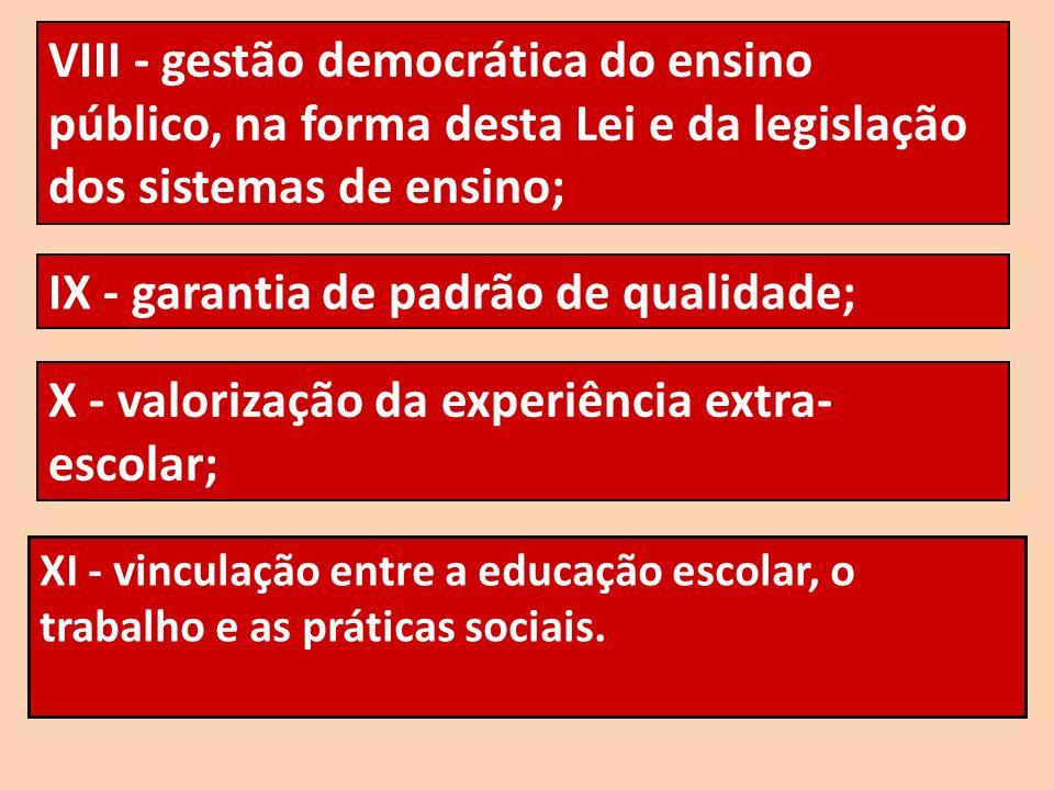 XI - vinculação entre a educação escolar, o trabalho e as práticas sociais. VIII - gestão democrática do ensino público, na forma desta Lei e da legis
