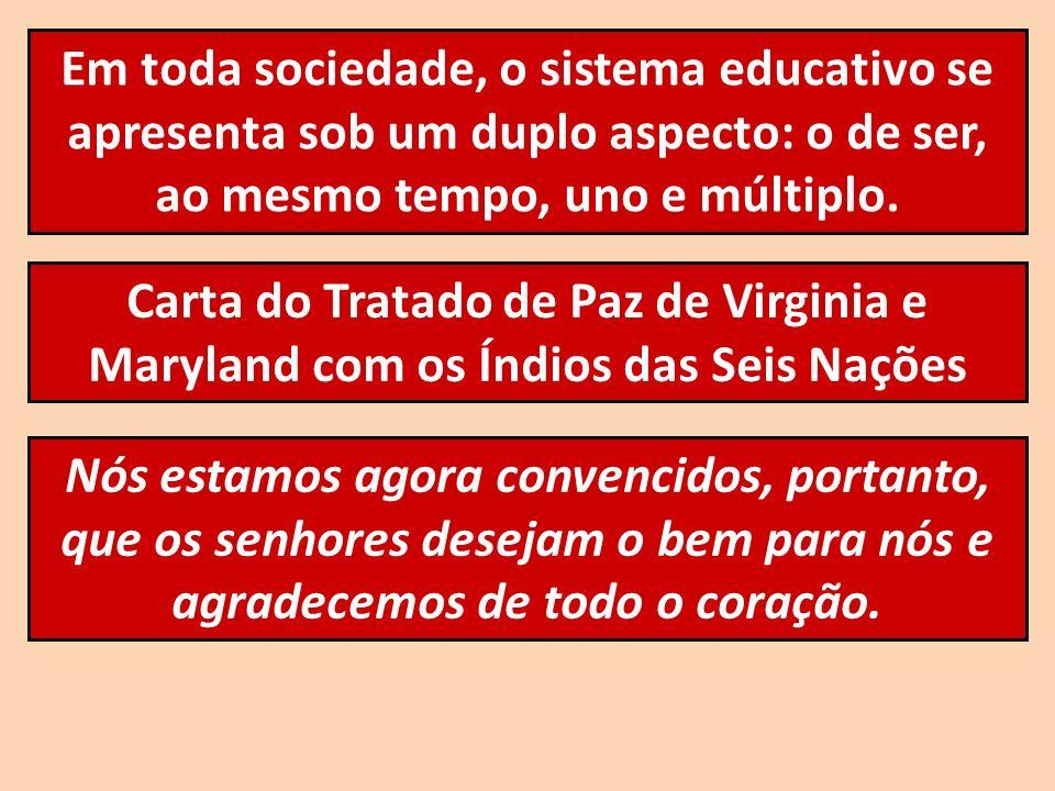 Em toda sociedade, o sistema educativo se apresenta sob um duplo aspecto: o de ser, ao mesmo tempo, uno e múltiplo. Carta do Tratado de Paz de Virgini
