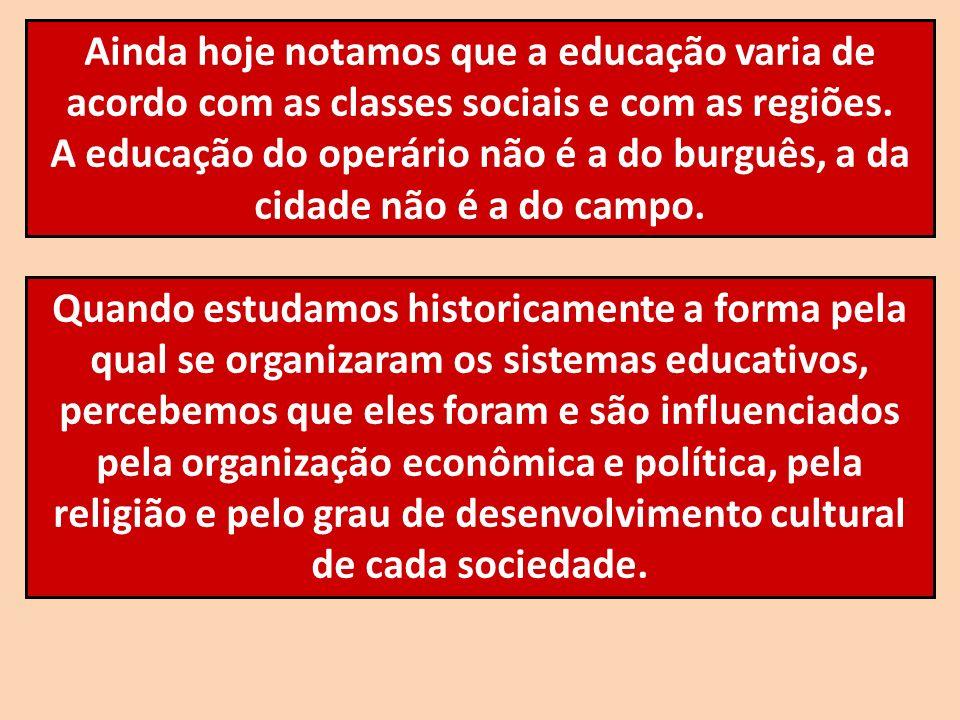 Ainda hoje notamos que a educação varia de acordo com as classes sociais e com as regiões. A educação do operário não é a do burguês, a da cidade não