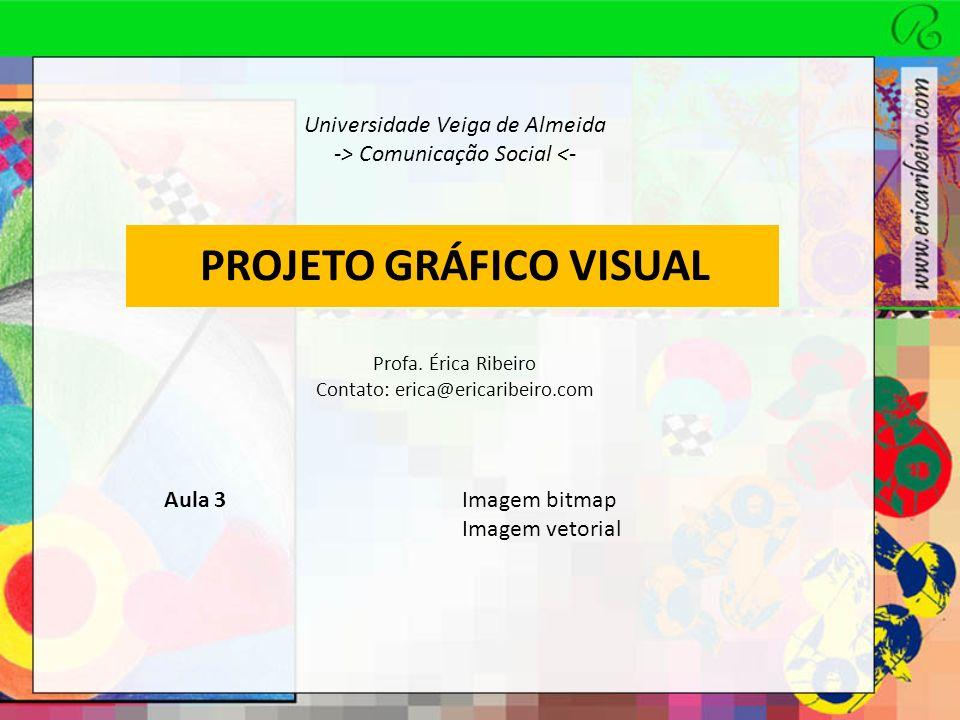 PROJETO GRÁFICO VISUAL IMAGEM BITMAP Bit -> menor unidade de informação usada pelo computador A cor de cada bit é registrada pelo computador com o uso de bits Softwares como o Photoshop geram imagens mapeadas por bits (bitmap) Para o mapeamento, utilizam uma grade quadriculada, em que cada unidade gráfica é chamada de pixel Conjunto que contrói a imagem