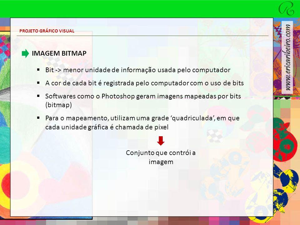 PROJETO GRÁFICO VISUAL IMAGEM BITMAP Bit -> menor unidade de informação usada pelo computador A cor de cada bit é registrada pelo computador com o uso