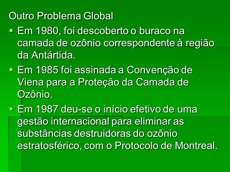 Outro Problema Global Em 1980, foi descoberto o buraco na camada de ozônio correspondente à região da Antártida. Em 1980, foi descoberto o buraco na c