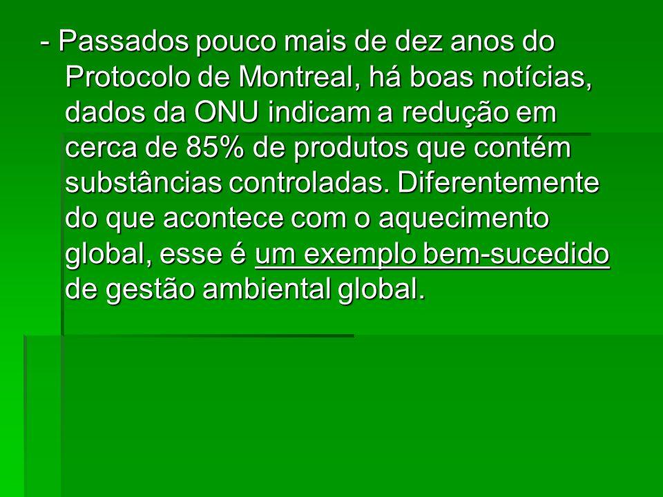 - Passados pouco mais de dez anos do Protocolo de Montreal, há boas notícias, dados da ONU indicam a redução em cerca de 85% de produtos que contém su