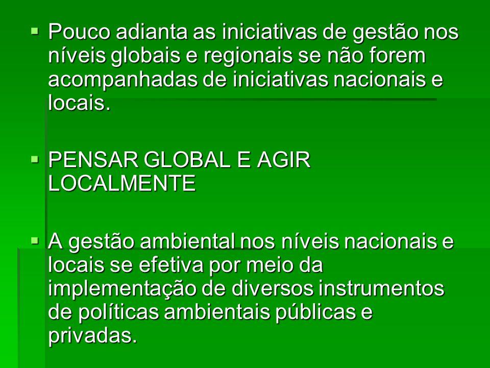 Pouco adianta as iniciativas de gestão nos níveis globais e regionais se não forem acompanhadas de iniciativas nacionais e locais. Pouco adianta as in
