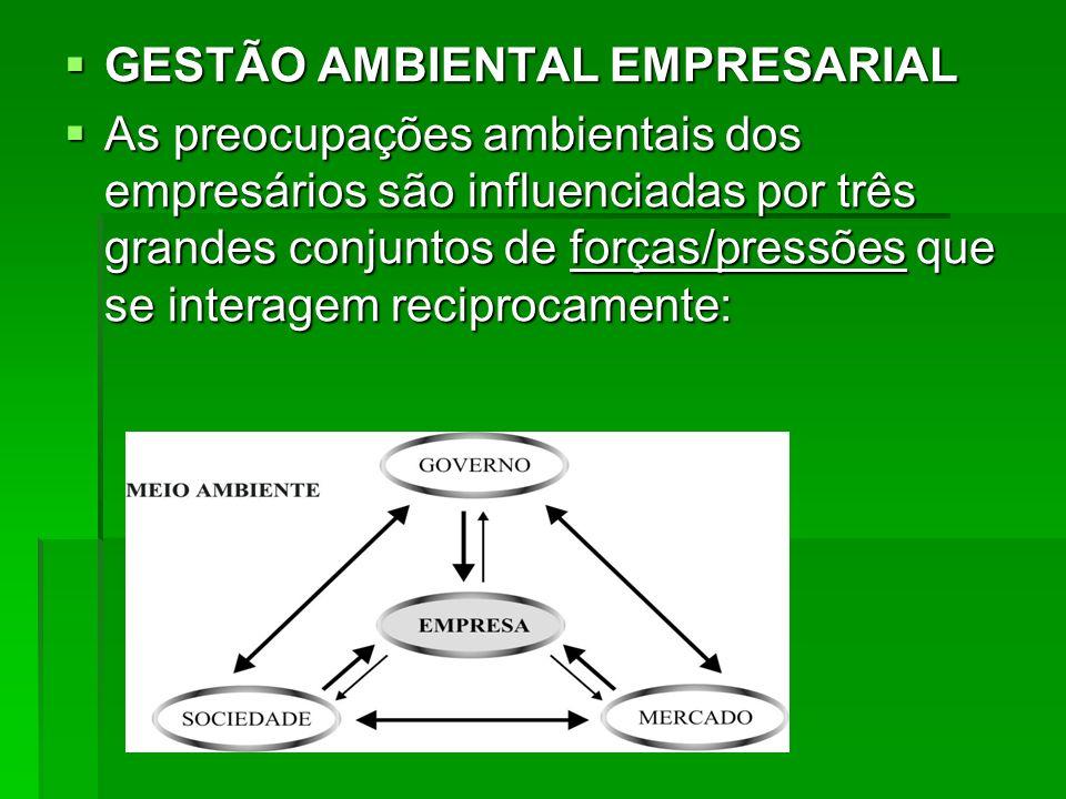 GESTÃO AMBIENTAL EMPRESARIAL GESTÃO AMBIENTAL EMPRESARIAL As preocupações ambientais dos empresários são influenciadas por três grandes conjuntos de f