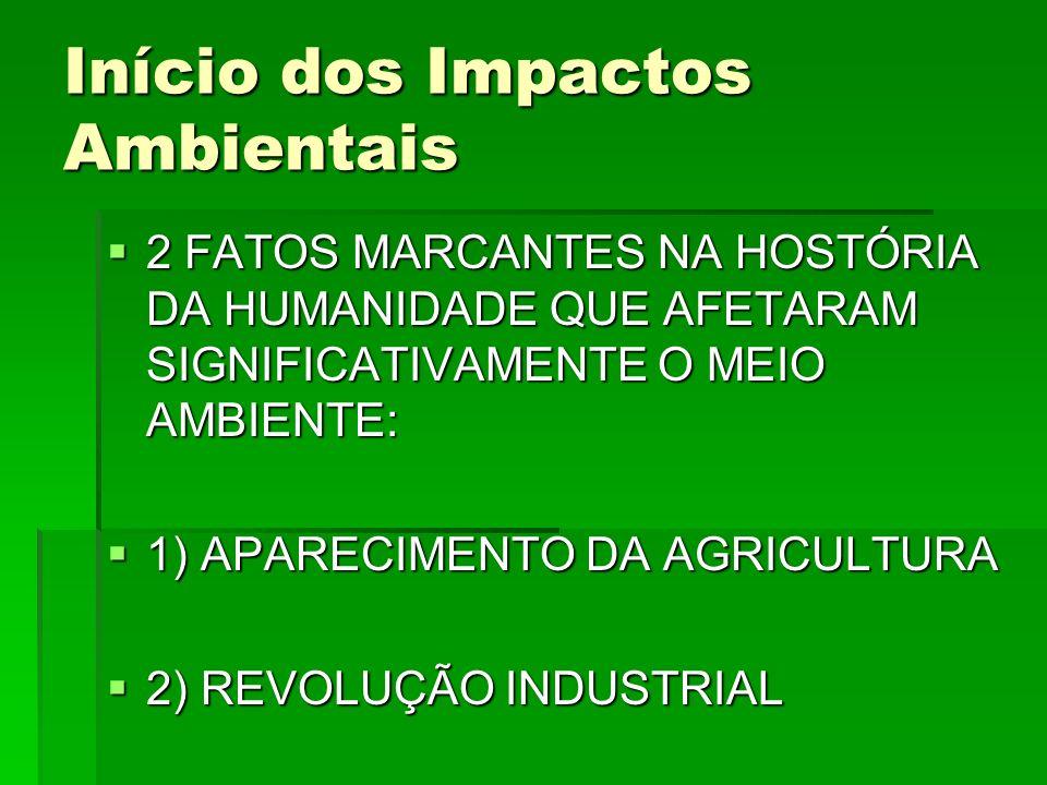 Início dos Impactos Ambientais 2 FATOS MARCANTES NA HOSTÓRIA DA HUMANIDADE QUE AFETARAM SIGNIFICATIVAMENTE O MEIO AMBIENTE: 2 FATOS MARCANTES NA HOSTÓ
