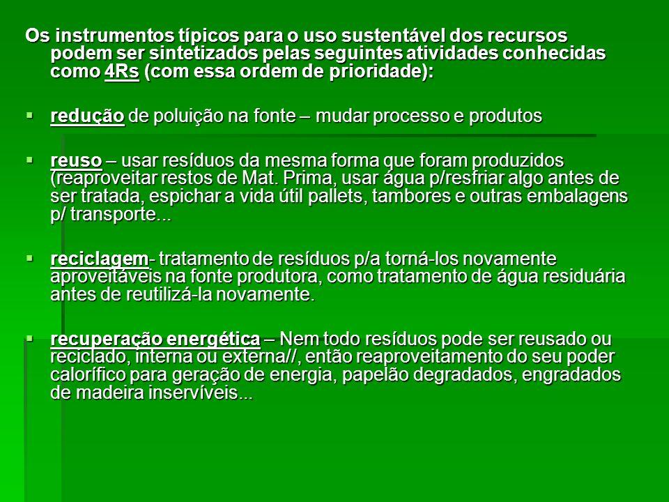 Os instrumentos típicos para o uso sustentável dos recursos podem ser sintetizados pelas seguintes atividades conhecidas como 4Rs (com essa ordem de p