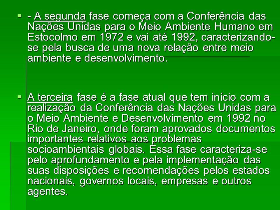 - A segunda fase começa com a Conferência das Nações Unidas para o Meio Ambiente Humano em Estocolmo em 1972 e vai até 1992, caracterizando- se pela b