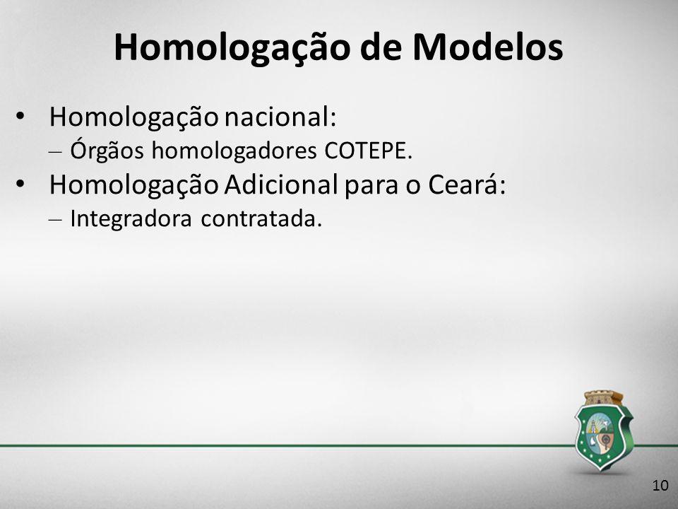 Homologação de Modelos Homologação nacional: – Órgãos homologadores COTEPE. Homologação Adicional para o Ceará: – Integradora contratada. 10