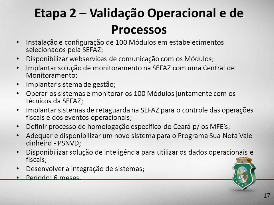 Etapa 2 – Validação Operacional e de Processos Instalação e configuração de 100 Módulos em estabelecimentos selecionados pela SEFAZ; Disponibilizar we