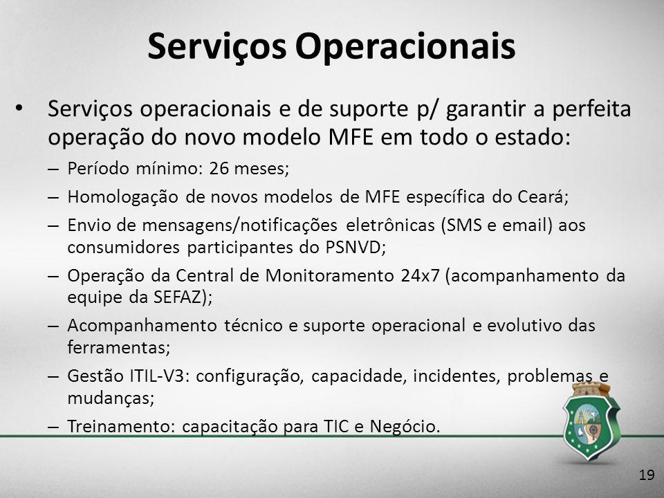 Serviços Operacionais Serviços operacionais e de suporte p/ garantir a perfeita operação do novo modelo MFE em todo o estado: – Período mínimo: 26 mes