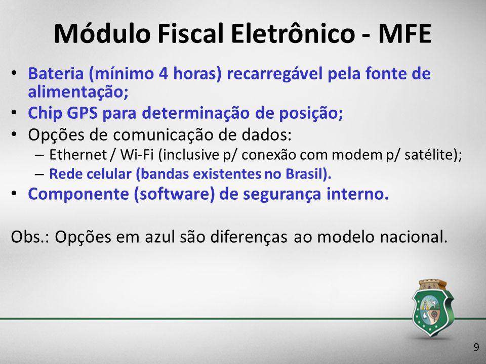 Módulo Fiscal Eletrônico - MFE Bateria (mínimo 4 horas) recarregável pela fonte de alimentação; Chip GPS para determinação de posição; Opções de comun