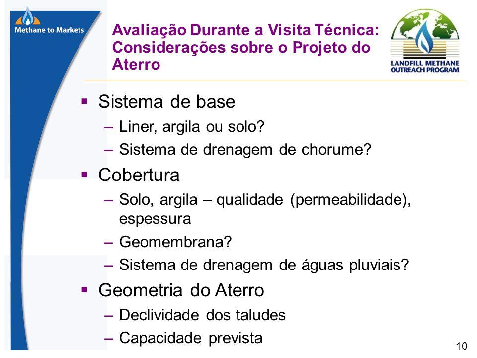 10 Avaliação Durante a Visita Técnica: Considerações sobre o Projeto do Aterro Sistema de base –Liner, argila ou solo.