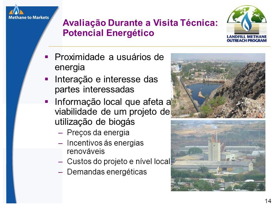14 Avaliação Durante a Visita Técnica: Potencial Energético Proximidade a usuários de energia Interação e interesse das partes interessadas Informação local que afeta a viabilidade de um projeto de utilização de biogás –Preços da energia –Incentivos ás energias renováveis –Custos do projeto e nível local –Demandas energéticas