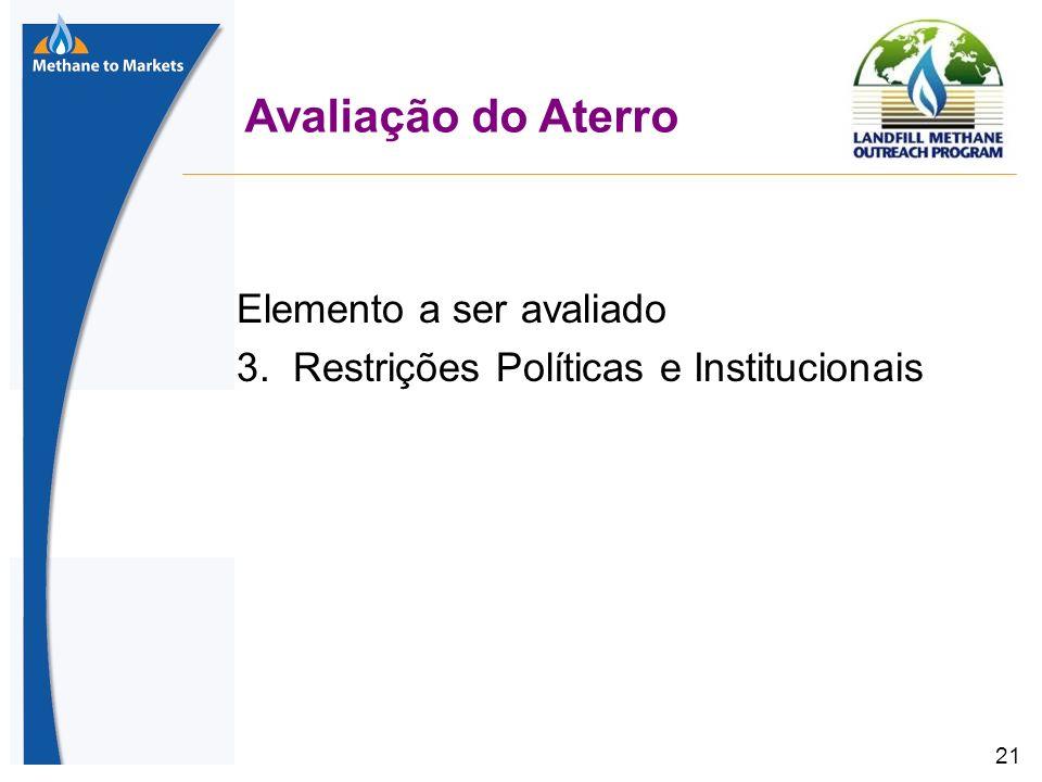 21 Avaliação do Aterro Elemento a ser avaliado 3. Restrições Políticas e Institucionais