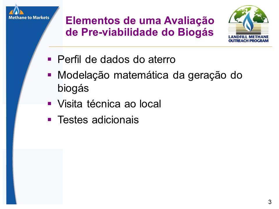 3 Elementos de uma Avaliação de Pre-viabilidade do Biogás Perfil de dados do aterro Modelação matemática da geração do biogás Visita técnica ao local Testes adicionais