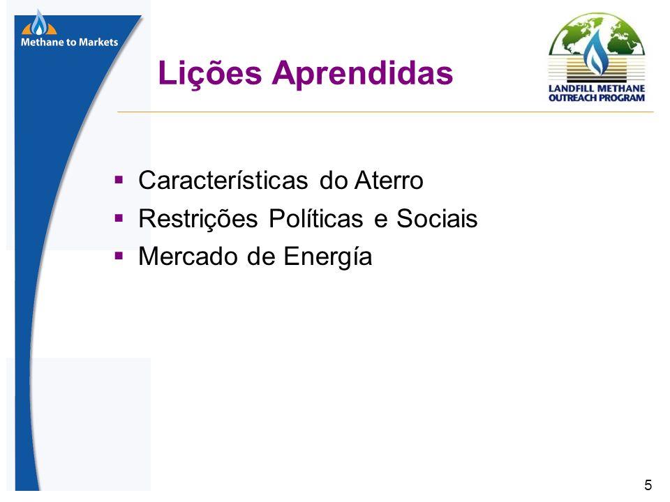 5 Lições Aprendidas Características do Aterro Restrições Políticas e Sociais Mercado de Energía
