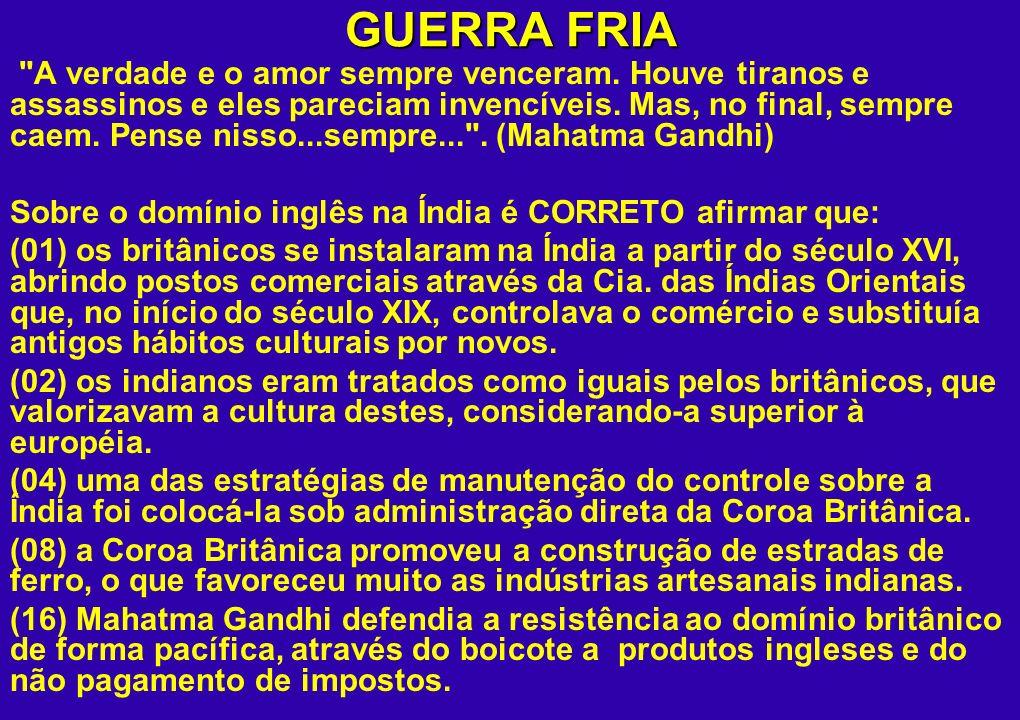 GUERRA FRIA DESCOLONIZAÇÃO AFRO-ASIÁTICA