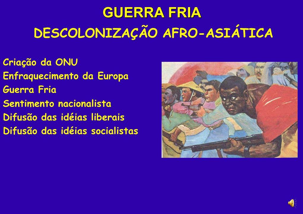 GUERRA FRIA DESCOLONIZAÇÃO AFRO-ASIÁTICA Criação da ONU Enfraquecimento da Europa Guerra Fria Sentimento nacionalista Difusão das idéias liberais Difusão das idéias socialistas
