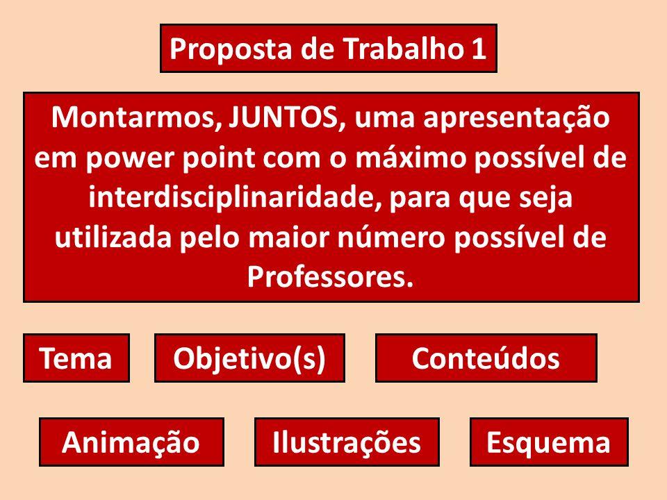 Proposta de Trabalho 1 Montarmos, JUNTOS, uma apresentação em power point com o máximo possível de interdisciplinaridade, para que seja utilizada pelo