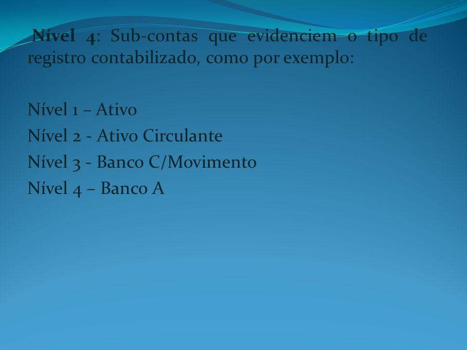 Nível 4: Sub-contas que evidenciem o tipo de registro contabilizado, como por exemplo: Nível 1 – Ativo Nível 2 - Ativo Circulante Nível 3 - Banco C/Mo