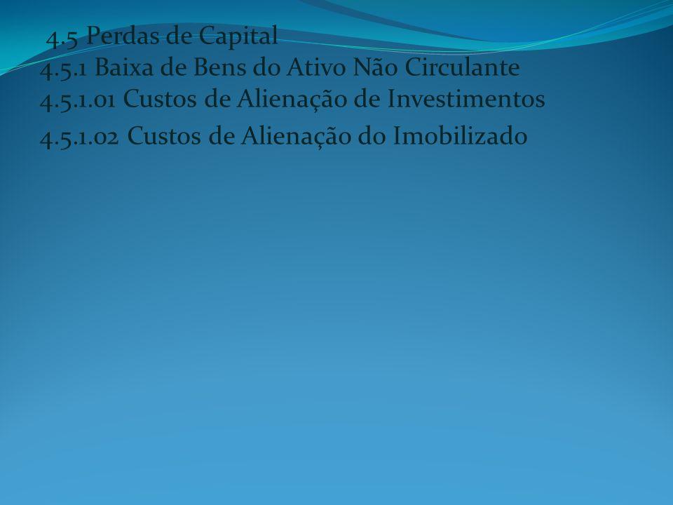 4.5 Perdas de Capital 4.5.1 Baixa de Bens do Ativo Não Circulante 4.5.1.01 Custos de Alienação de Investimentos 4.5.1.02 Custos de Alienação do Imobil