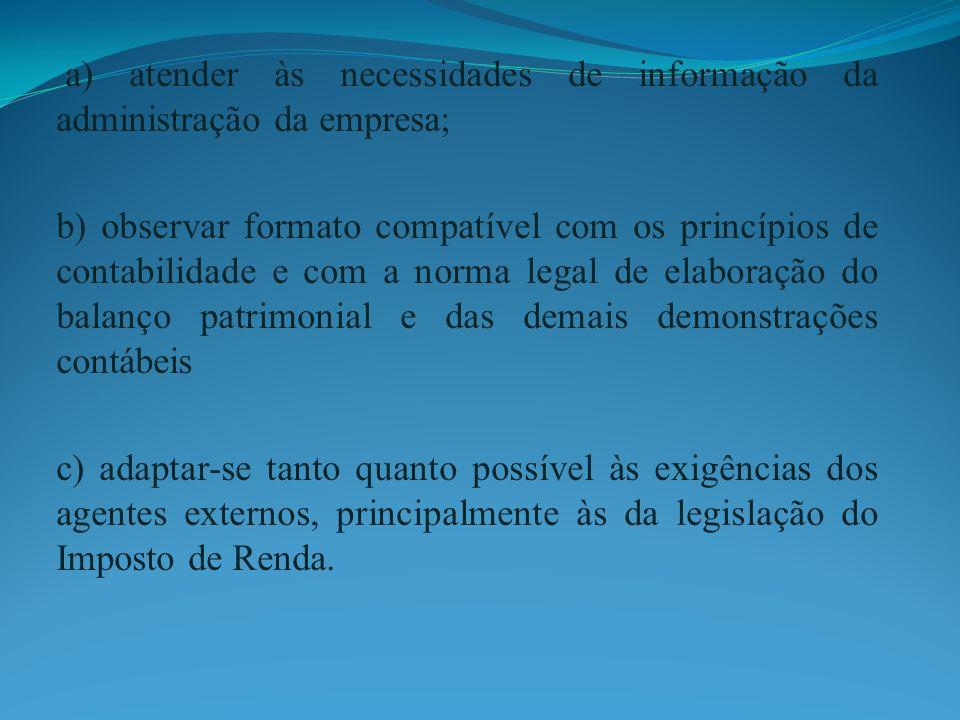 a) atender às necessidades de informação da administração da empresa; b) observar formato compatível com os princípios de contabilidade e com a norma
