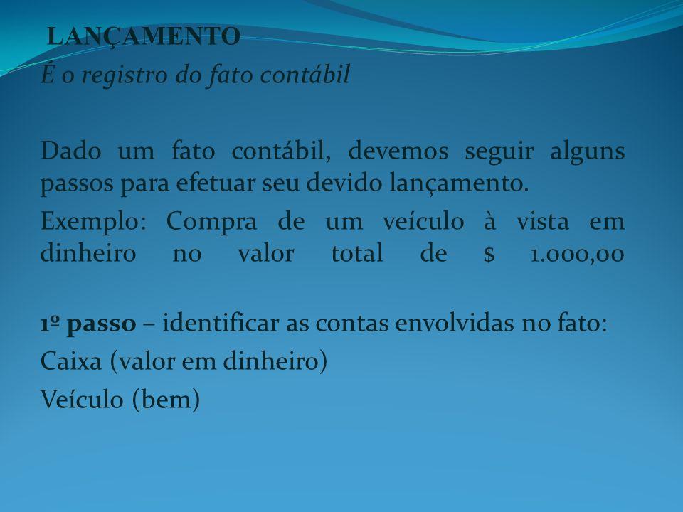 LANÇAMENTO É o registro do fato contábil Dado um fato contábil, devemos seguir alguns passos para efetuar seu devido lançamento. Exemplo: Compra de um