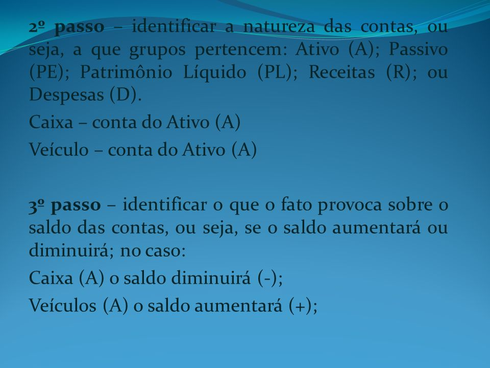 2º passo – identificar a natureza das contas, ou seja, a que grupos pertencem: Ativo (A); Passivo (PE); Patrimônio Líquido (PL); Receitas (R); ou Desp