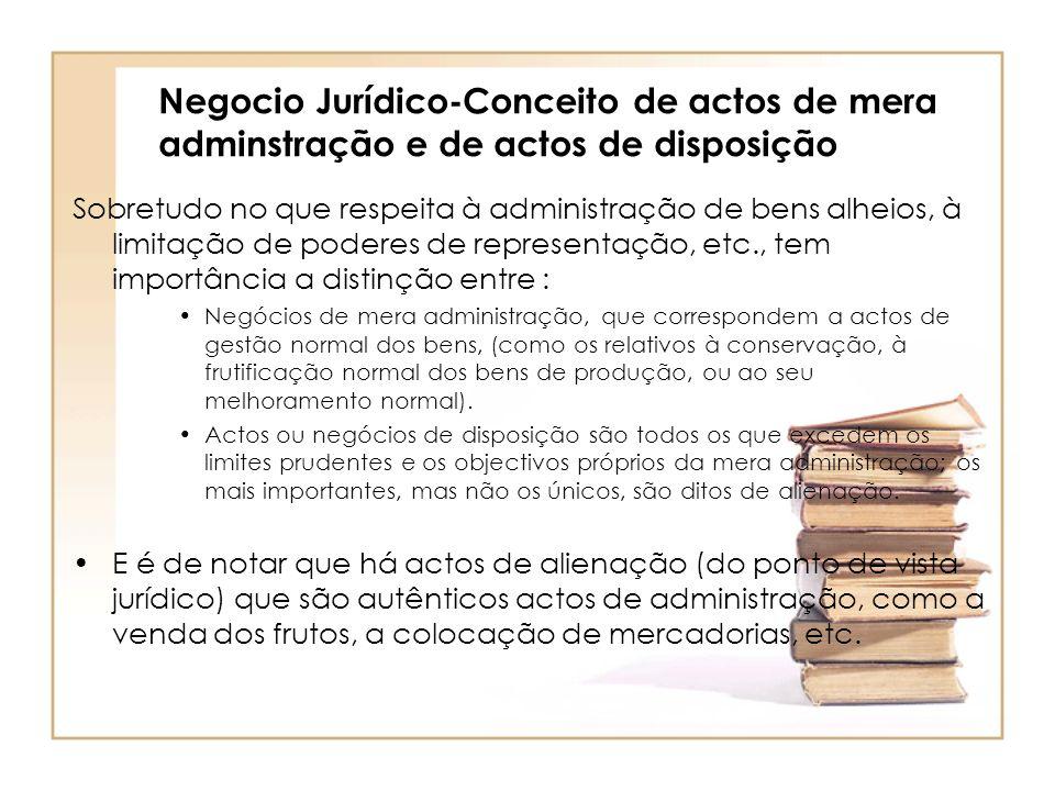Negocio Jurídico-Conceito de actos de mera adminstração e de actos de disposição Sobretudo no que respeita à administração de bens alheios, à limitaçã