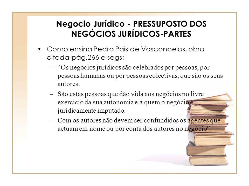 Negocio Jurídico - PRESSUPOSTO DOS NEGÓCIOS JURÍDICOS-PARTES Como ensina Pedro Pais de Vasconcelos, obra citada-pág.266 e segs: –Os negócios jurídicos