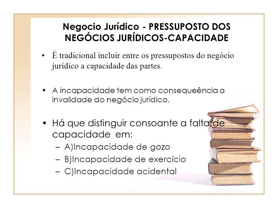 Negocio Jurídico - PRESSUPOSTO DOS NEGÓCIOS JURÍDICOS-CAPACIDADE È tradicional incluir entre os pressupostos do negócio jurídico a capacidade das part