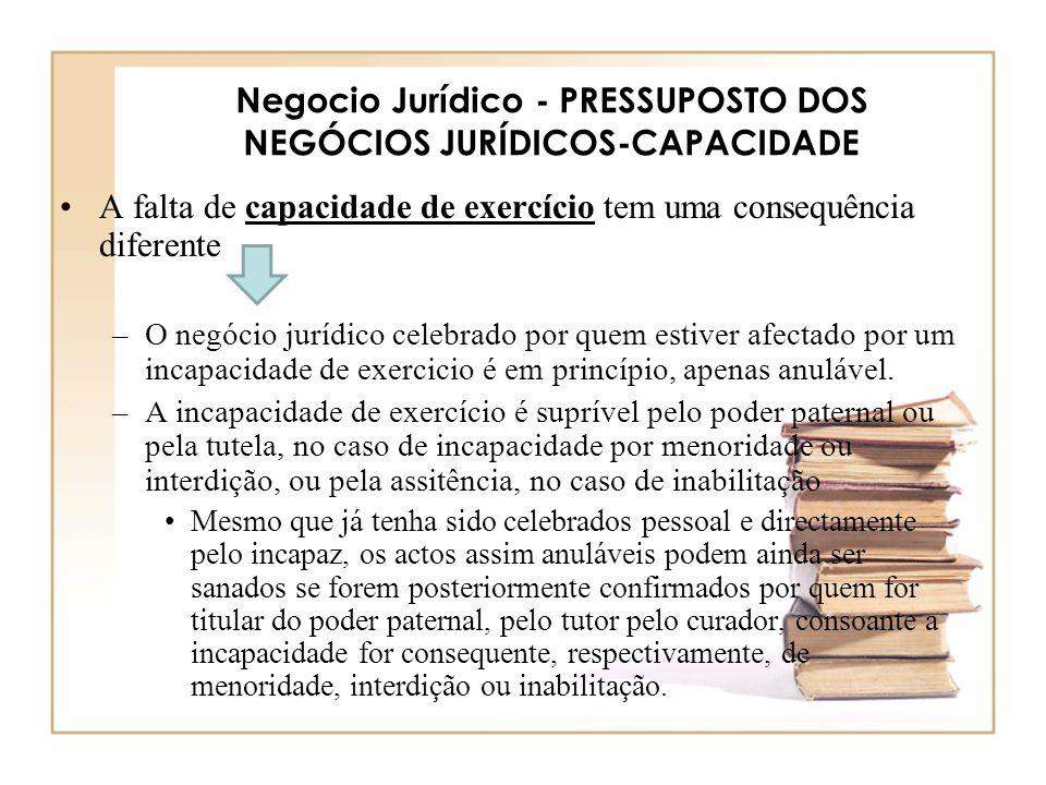 Negocio Jurídico - PRESSUPOSTO DOS NEGÓCIOS JURÍDICOS-CAPACIDADE A falta de capacidade de exercício tem uma consequência diferente –O negócio jurídico