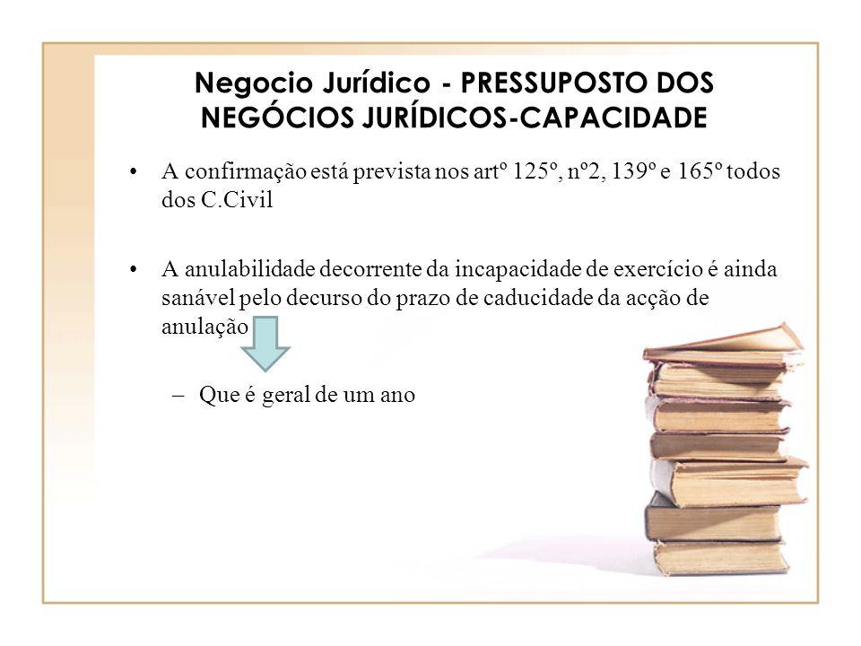 Negocio Jurídico - PRESSUPOSTO DOS NEGÓCIOS JURÍDICOS-CAPACIDADE A confirmação está prevista nos artº 125º, nº2, 139º e 165º todos dos C.Civil A anula