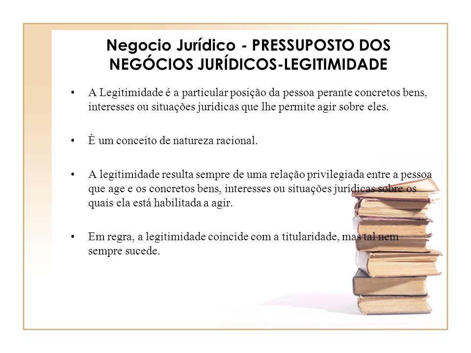 Negocio Jurídico - PRESSUPOSTO DOS NEGÓCIOS JURÍDICOS-LEGITIMIDADE A Legitimidade é a particular posição da pessoa perante concretos bens, interesses
