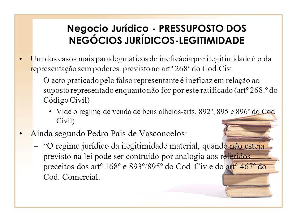 Negocio Jurídico - PRESSUPOSTO DOS NEGÓCIOS JURÍDICOS-LEGITIMIDADE Um dos casos mais paradegmáticos de ineficácia por ilegitimidade é o da representaç