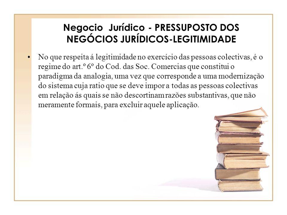 Negocio Jurídico - PRESSUPOSTO DOS NEGÓCIOS JURÍDICOS-LEGITIMIDADE No que respeita á legitimidade no exercício das pessoas colectivas, é o regime do a