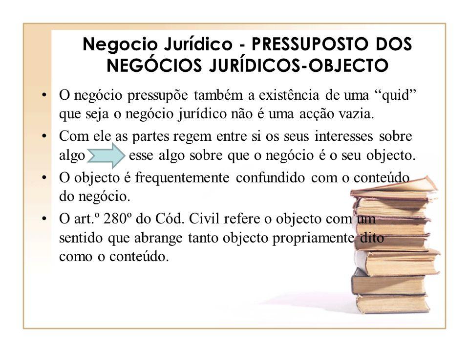 Negocio Jurídico - PRESSUPOSTO DOS NEGÓCIOS JURÍDICOS-OBJECTO O negócio pressupõe também a existência de uma quid que seja o negócio jurídico não é um