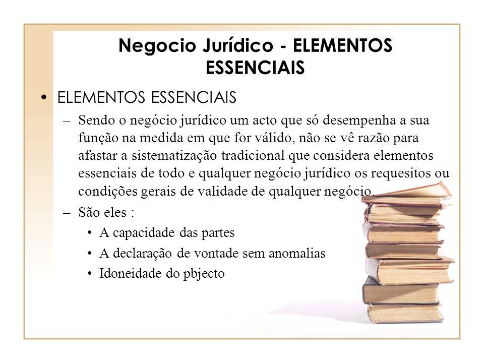 Negocio Jurídico - ELEMENTOS ESSENCIAIS ELEMENTOS ESSENCIAIS –Sendo o negócio jurídico um acto que só desempenha a sua função na medida em que for vál