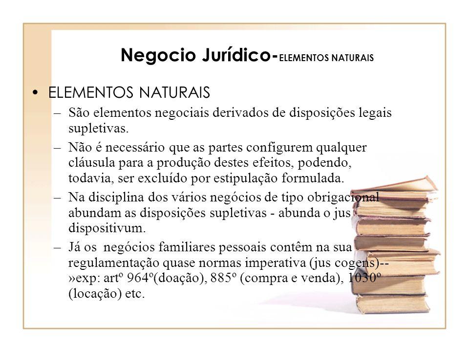 Negocio Jurídico- ELEMENTOS NATURAIS ELEMENTOS NATURAIS –São elementos negociais derivados de disposições legais supletivas. –Não é necessário que as