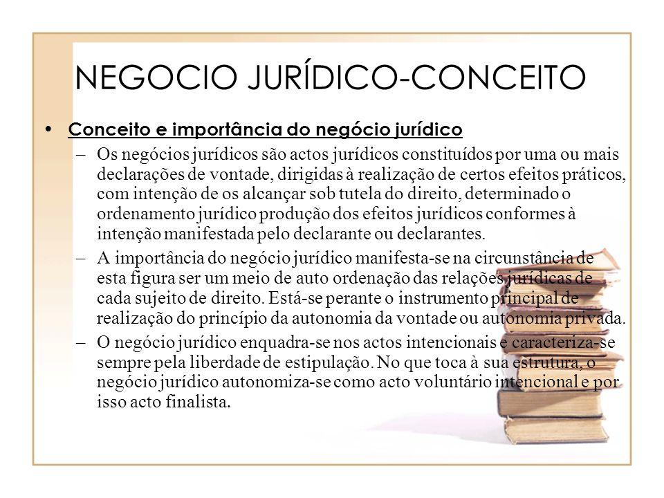 NEGOCIO JURÍDICO-CONCEITO Conceito e importância do negócio jurídico –Os negócios jurídicos são actos jurídicos constituídos por uma ou mais declaraçõ