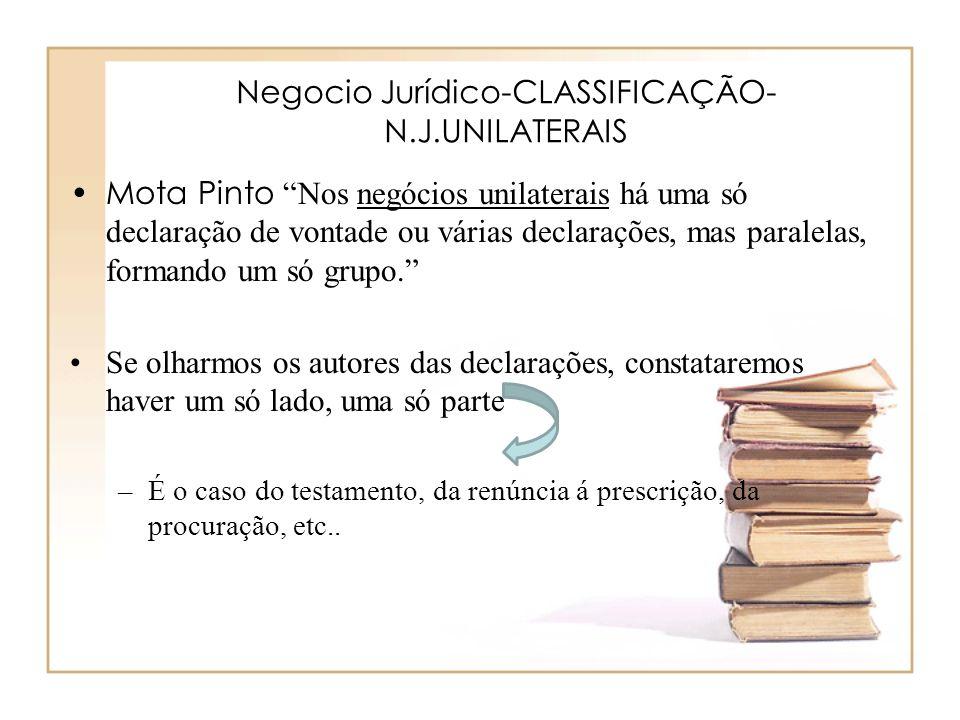 Negocio Jurídico-CLASSIFICAÇÃO- N.J.UNILATERAIS Mota Pinto Nos negócios unilaterais há uma só declaração de vontade ou várias declarações, mas paralel