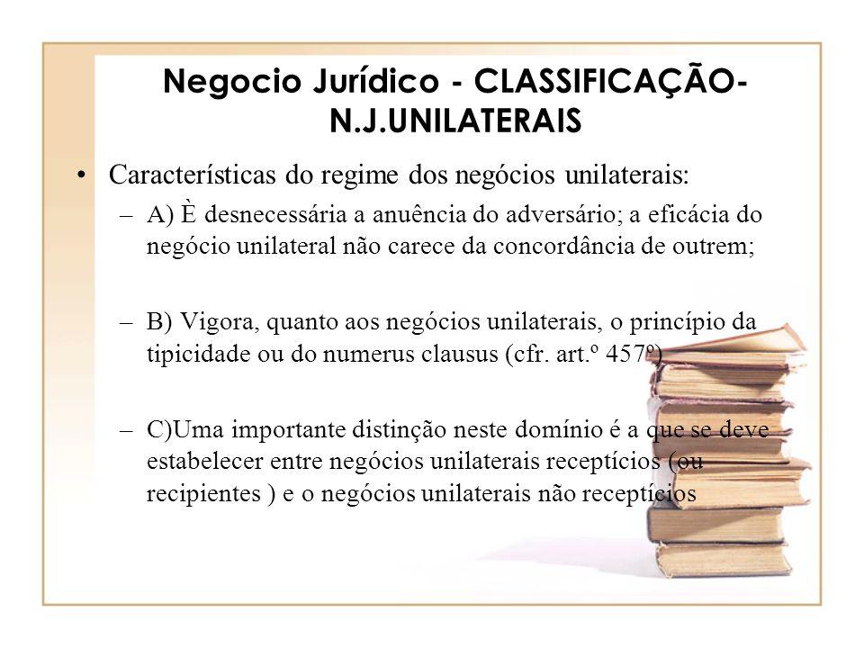 Negocio Jurídico - CLASSIFICAÇÃO- N.J.UNILATERAIS Características do regime dos negócios unilaterais: –A) È desnecessária a anuência do adversário; a