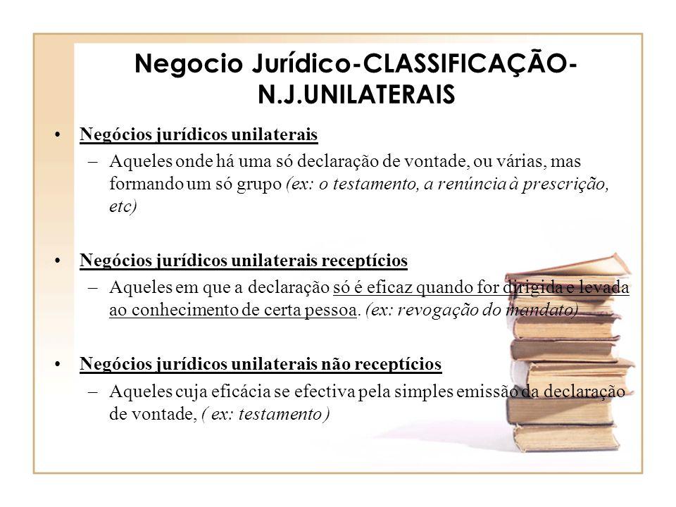 Negocio Jurídico-CLASSIFICAÇÃO- N.J.UNILATERAIS Negócios jurídicos unilaterais –Aqueles onde há uma só declaração de vontade, ou várias, mas formando