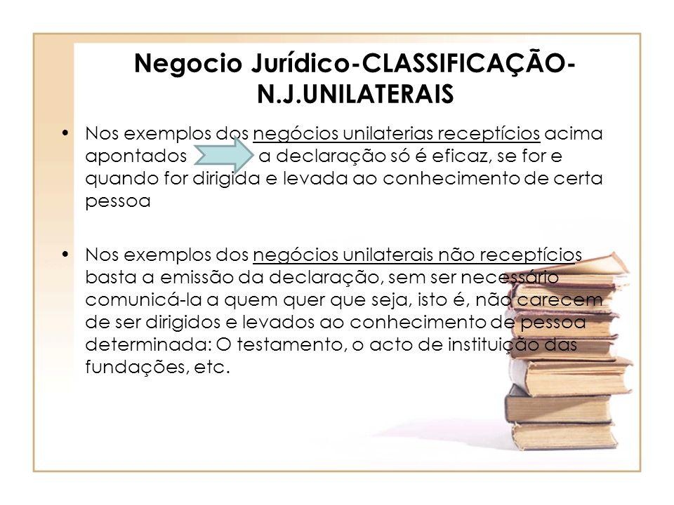 Negocio Jurídico-CLASSIFICAÇÃO- N.J.UNILATERAIS Nos exemplos dos negócios unilaterias receptícios acima apontados a declaração só é eficaz, se for e q