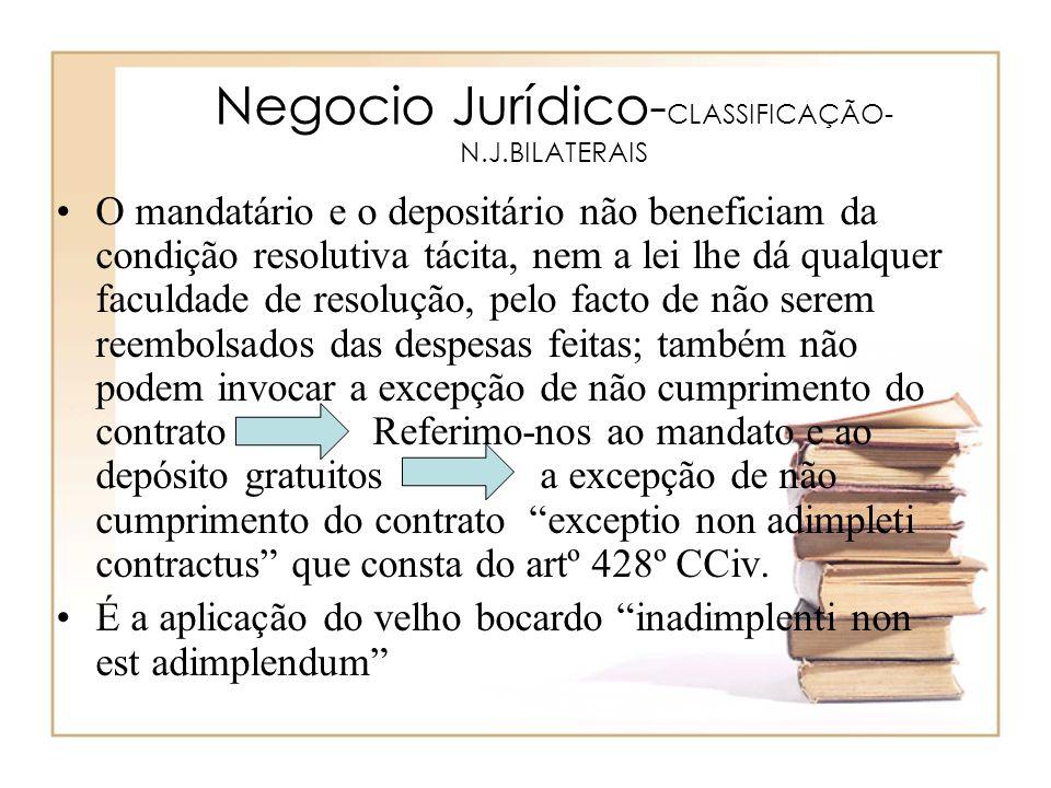 Negocio Jurídico- CLASSIFICAÇÃO- N.J.BILATERAIS O mandatário e o depositário não beneficiam da condição resolutiva tácita, nem a lei lhe dá qualquer f